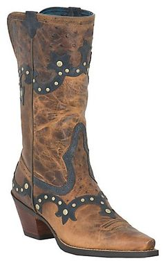 Ariat® Rogue™ Ladies Distressed Brown w/ Ostrich Print Studded Snip Toe Western Boot | Cavender's Boot City