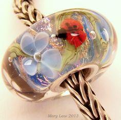 Ladybug Butterfly Garden Dichroic Bead for Pandora, Troll Bracelet ML SRA Lampwork Murano Glass. $48.00, via Etsy.
