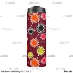Sunflower Travel Mugs & Thermal Tumblers Sparkles Background, Red Background, Custom Tumblers, Travel Mug, Water Bottle, Mugs, Drinks, Drinking, Beverages