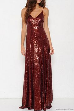 Long handmade sequin dress, in cupped metallic red sequins over red base fabric in a halter neck with a flared hemline cut. Prom Party Dresses, Bridesmaid Dresses, Formal Dresses, Bridesmaids, Beautiful Prom Dresses, Pretty Dresses, Mother Of The Groom Gowns, Halter Gown, Halter Neck