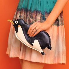 Orwell Clutch Navy Penguin Purse by tsurubride on Etsy Penguin Bird, Penguin Animals, Penguin Love, Penguin Clothes, Blue Footed Booby, Black Tie Affair, Cool Style, My Style, I Feel Pretty