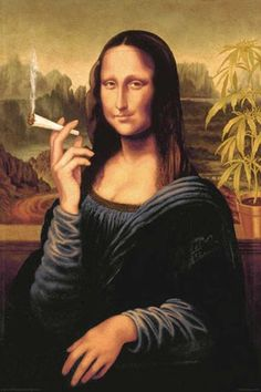 Parody poster of the Mona Lisa with a joint.  Dimensions are 24 x 36in. NM condition.