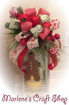 Gingerbread Lantern Swag/Gingerbread tree topper/Christmas tree topper/Gingerbread Christmas tree topper/Christmas lantern bow/wreath accent by MarlenesCraftShop on Etsy