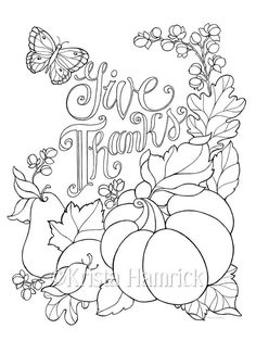 Give Thanks  coloring page in two sizes: 8.5X11 and Bible journaling tip-in 6X8