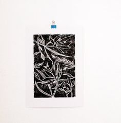 Botanical Linocut Print Black and White Flower by mipluseddesign