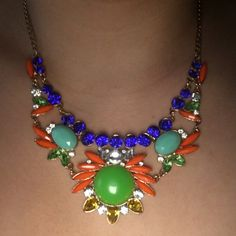 Multi-Colored Stone Costume Jewelry Necklace Multi-Colored stone gold necklace. Very lightweight. Adjustable clasp so that you can make the length what you please. Beautiful color stones so could be worn with a variety of outfits. Never worn. Brand new. All stones are in place as shown in pictures. Not looking to trade. Jewelry Necklaces