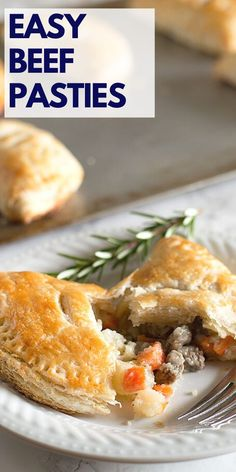 Easy Beef Pasties are buttery, flaky buttermilk pie crust wrapped around a savory mixture of steak, carrots, potatoes, and onions. Recipes Using Pork, Beef Recipes For Dinner, Recipe Using, Great Recipes, Beef Roll Ups, Yummy Snacks, Yummy Food, My Favorite Food, Favorite Recipes