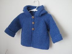 Demin Blue Crochet Boy Sweater with Hood. Tunisian Crochet.