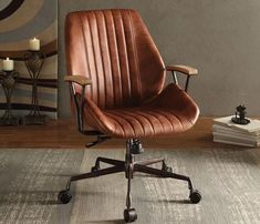 Greyleigh Kirbyville Genuine Leather Task Chair Upholstery Color: Cocoa Leather – Executive Home Office Design Design Lounge, Design Loft, Home Office Design, Home Office Decor, Chair Design, Home Decor, Plywood Furniture, Design Furniture, Office Furniture