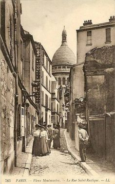 Rue Saint-Rustique, Old Montmartre, Paris, c. Paris 1900, Old Paris, Paris France, Antique Photos, Vintage Photographs, Vintage Photos, Montmartre Paris, Paris Rue, Belle Epoque