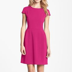 Host Pick Eliza J seamed double knit dress Double knit crepe fit dress in pink (magenta) in size 2P. Back zip closure. Poly/rayon blend. Lined. Hits knee area Eliza J Dresses