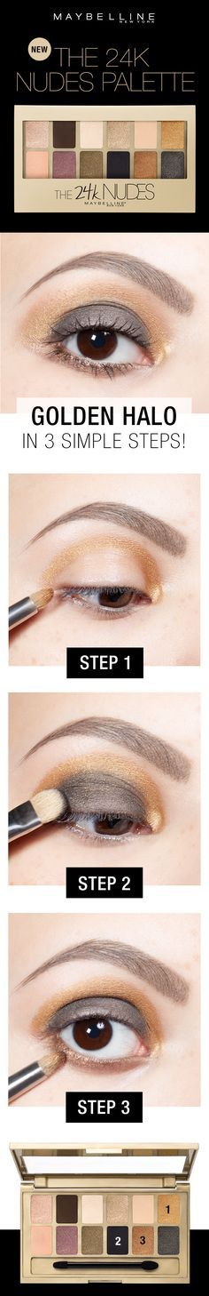 Get this unique golden halo eyeshadow look in three easy steps using the Maybelline 24K Nudes Palette!  First, apply the gold shade around the upper eyelid crease.  NExt, apply the black onto the lid.  Then, apply the bronze shade along the lower lash line to smoke out the makeup look.