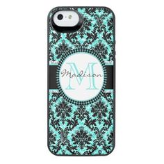 Turquoise blue glitter & black damask Name iPhone SE/5/5s Battery Case - monogram gifts unique custom diy personalize