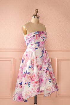Melina - Pink floral print high-low bustier dress
