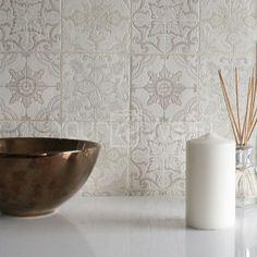 'Marokkanische Kachel' Geometrisch Fliesen-effekt Tapete grau, Beige, creme weiß in Bastel- & Künstlerbedarf, Kreatives Gestalten, Floristik-Zubehör | eBay!