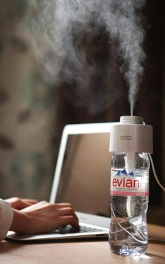A $34 Cap That Turns Any Water Bottle Into A Humidifier ... Thats pretty nifty! Breathing problems in winter, begone! Without having to disinfect a giant humidifier every night!