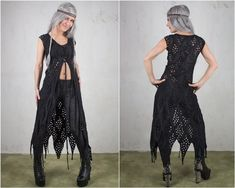 Dark Mori Goth Dress as Goth Women Clothing and Sexy Dress Fetish Wear for Pagan Sith Cosplay Steampunk black Witch Dress Sith, Black Witch Dress, Steampunk, Cyberpunk Clothes, Dark Mori, Goth Dress, Goth Women, Hippie Outfits, Festival Outfits