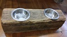 Reclaimed Barn Beam Wood Dog Dish Holder- 2 Bowl Holder - Large http://www.realantiquewood.com