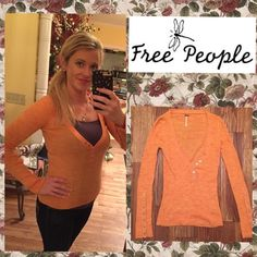 "Free People Sweater EUC Free People V-Neck Sweater.  Size is XS, but runs a little big, meaning it could fit a small to a medium. I'm wearing it in the pic & I'm a 36"" in the chest. Pair with some skinnies & booties, (which I have for sale in another listing), for a stylish, yet comfortable, outfit! Ask about discounted shipping! Free People Tops Blouses"