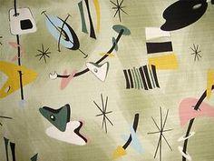R.Kaufman BOOMERANG BEAT Barkcloth Atomic Art Fabric Green Vintage Retro 35x92cm | eBay