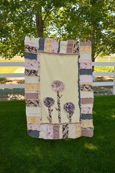 RAG QUILT with Ruffled Flowers in Pink Yellow by avisiontoremember Girls Rag Quilt, Toddler Quilt, Quilts For Sale, Shirt Quilt, Auction Items, Quilted Pillow, Boho Baby, Custom Embroidery, Hand Quilting