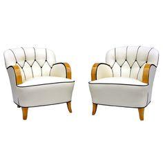 A Pair of Art Deco Armchairs Sweden Circa 1920 - 1930 A Pair of Art Deco Armchairs with flutted back and zig zag detail.