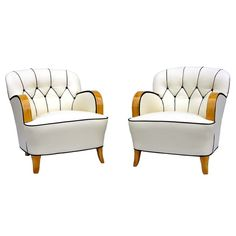 A Pair of Art Deco Armchairs  Sweden  Circa 1920 - 1930  A Pair of Art Deco Armchairs with flutted back and zig zag detail. @designerwallace