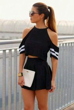 Feel Free to Express Your Own Style with Your short two piece outfits.Today, these outfits are made to look extremely stylish while being efficient at the same time. We are lovin' the two piece set… Summer Fashion For Teens, Teen Fashion, Fashion Clothes, Fashion Outfits, Womens Fashion, Fashion Trends, Fashion Black, Style Fashion, Dress Fashion