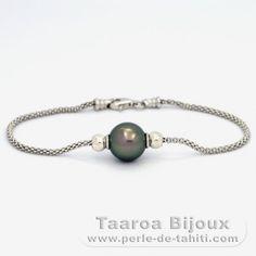 Bracelet en Argent .925 et 1 Perle de Tahiti Ronde B 10.7 mm - Taaroa Perles de Tahiti - Perles de Tahiti, d'Australie et des Mers du Sud - Bijouterie en ligne - Polynésie Française / St Barthélemy