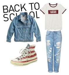 Back To School Tomboy by abigailphoenix on Polyvore featuring moda, Vans, Lucky Brand, Topshop, Converse and plus size clothing