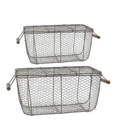 Look at this Metal Wire Picnic Basket Set on #zulily today!