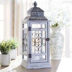 Wood Lantern - Gray Large
