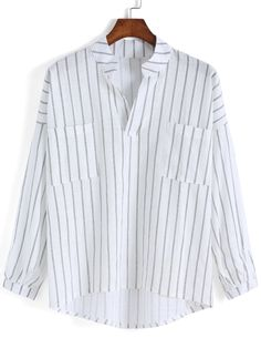Dip Hem Vertical Striped Blouse 11.50