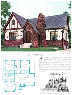 The 1929 Hobson - Eclectic English Revival - Home Builders Catalog - Vintage Home Architecture - Tudor Houses 4 U Tudor House, Cottage Tudor, English Cottage, Storybook Cottage, Cottage Homes, Cottage Style, The Plan, How To Plan, Small House Plans