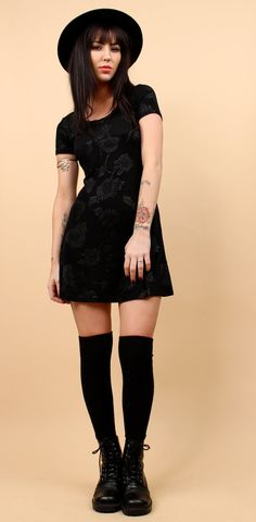 I would love to look like this in all black WOW 90s Vtg Black MINI Dress / Baby Doll FLORAL Grunge Goth Witchy Above the Knee / Sz Xs - Small / Club Kid The Craft