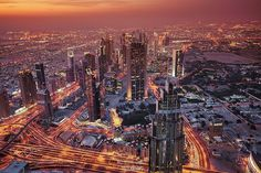 """""""Dubai Skyline """" - Hi guys the view from the Burj Khalifa in Dubai the world's tallest skyscraper as another day draws to a close. I shot this image during an amazing sunset that creates a """"movie like"""" scene of this amazing city. Check out my Travel Photography: Instagram MassimilianoConiglio"""