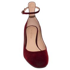 Women's Angelique Velvet Quarter Strap Pumps Who What Wear - Wine 6.5, Red