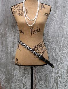 Genuine Leather Belt with Metal Work, Silver like Buckle, 5 holes, Metal tip by NormasTreasures on Etsy