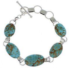 Turquoise Southwest Link Bracelet Sterling Silver Jewelry EX23998 http://www.silvertribe.com