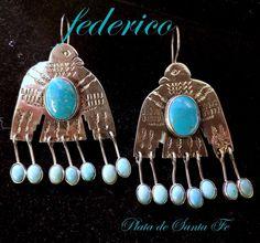 FEDERICO JIMENEZ Harvey Style Turquoise THUNDERBIRD 925 Dangle Earrings #FedericoJimenez