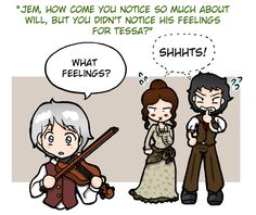 The latest Q session with The Infernal Devices characters.  By Felwyn at DeviantArt.