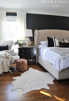 I hope you all are having a wonderful week so far! We are excited today to share some changes we made to our master bedroom. I originally was planning on painting the walls in our master dark but then… Bedroom With Bath, Bedroom Black, Dream Bedroom, Home Decor Bedroom, Bedroom Ideas, Dark Master Bedroom, Design Bedroom, Bedroom Simple, Beautiful Bedrooms