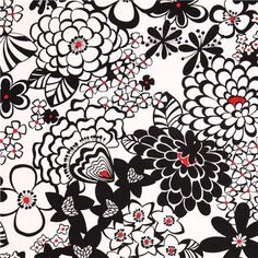 black and white Satchi Alexander Henry flower fabric 1