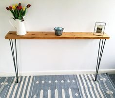 Narrow Rustic Console Table with Hairpin Legs, Slimline Hall Table, Narrow Rustic Hallway Table,Hallway Shelf/Table*FREE Leg Protectors* Narrow Hall Table, Rustic Hallway Table, Entryway Tables, Rustic Console Tables, Narrow Console Table, Dinning Table, Hallway Shelf, Hallway Furniture, Table Shelves