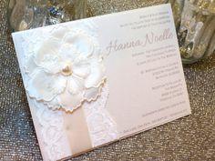 HANNA - Lace Baptism/Christening Invitation - Ivory and Cream - Customizable on Etsy, $4.25
