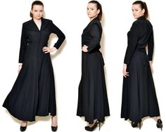 Vintage black maxi dress made in France. This is a button down dress.  The model on the pictures is size S/36 and 165 cm height. Please check measurements with your own to avoid problems with the size. Make sure you double the measurements where shown (*2):  Label size: S/36 Total lenght: 142 cm / 56 inches Sleeve lenght: 53 cm / 21 inches Shoulder to bottom: 133 cm / 52 inches Armpit to bottom: 111 cm / 44 inches Armpit to armpit: 45.5 cm *2 / 18 inches *2 ...