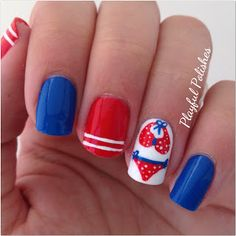4TH OF JULY NAIL ART #prom #red #blue