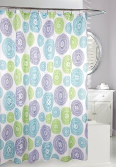 Purple and Gray Shower Curtain | Romantic Ruffles Bathroom Shower ...