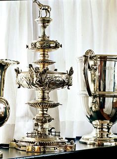 A Preakness horse-racing trophy won in 1945 by Polynesian, a thoroughbred owned by Gertrude T. Widener.
