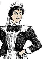 Personajes: Esta es la empleada de la señora. Tiene 20 años y lleva una uniforme. Tiene pelo negro y una cara agradable u plácida.